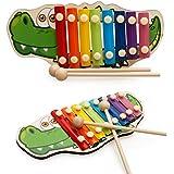 Greencherry 可愛いワニシロホン 鉄琴木琴楽器 木製叩くおもちゃ 幼児用 8音階 楽器玩具 知育玩具 おもちゃ プレゼント 誕生日 クリスマス 出産祝い
