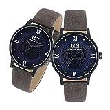 カップル腕時計 レザーストラップ 30M防水 アナログ クォーツ ラウンドダイヤル 彼と彼女のための腕時計