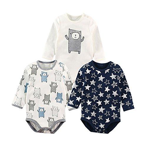Baby Nest 長袖ボディースーツ 3枚セット 男の子 ベビー服 新生児 ロンパース コットン セット5 9-12M