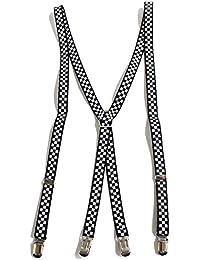 QUINTETTO チェッカー柄 サスペンダー 細型 15mm 吊りバンド ズボン吊り メンズ レディース ブレイシーズ X型 03-0132