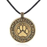 (Gold) - Runic Bear Paw Print Amulet Pendant Necklace Nordic Viking Runes Alloy Talisman Jewellery