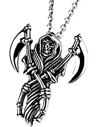 cupimatchメンズゴシックバイカーステンレススチールDeath Grim Reaper Skull with Scytheペンダントネックレス22 cmチェーン