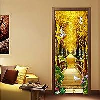 Xbwy 写真の壁紙3Dゴールデンフォレスト自然風景壁画Pvc防水リビングルームのドアのステッカー現代自己粘着壁紙-350X250Cm
