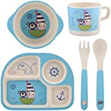 5Pcs Kids Cartoon Dinnerware Set,Eco-Friendly Bamboo Fiber Bowl Plate Cup Fork Spoon Meal Set Degradable Drop Resistance for Infant Toddler Baby Boys and Girls(#1)