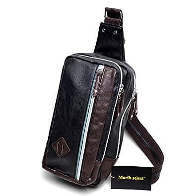 (Marib select) ボディバッグ 斜めがけバッグ マチが広くて定番フォルム カラーライン入り ワンショルダー メンズ 鞄 カバン #c029 (ブラック)