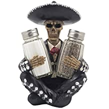 Dia de Los Muertos Mariachi Skeleton Salt and Pepper Shaker Set with Decorative Figurine Holder for Day of the Dead Mexican Festival Decor or Halloween Party Kitchen Table Decorations As Gothic Gifts