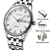 Silver Watches for Men,Mens Watch Date Quartz Wrist Watch with Classic Roman Numeral Business Casual Day Date Watches for Men,Fashion Analog Dial and Silver Stainless Steel Bracelet,Calendar Watch [並行輸入品]