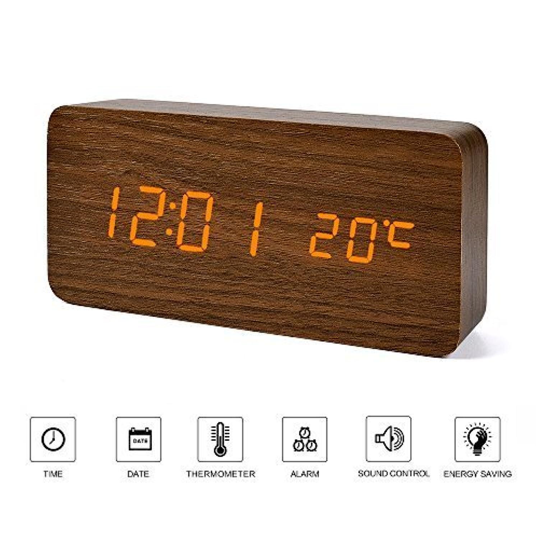 デジタル 置き時計 LED 目覚まし時計 大音量 アラーム 多機能 カレンダー付 温度湿度計 省エネ 音声感知 USB給電 電池 木目調 ナチュラル風 おしゃれ プレゼント(ブラウン?木目調)