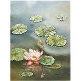 W Cullen – ピンクの花とスイレン ファインアート プリント (77.47 x 102.87 cm)