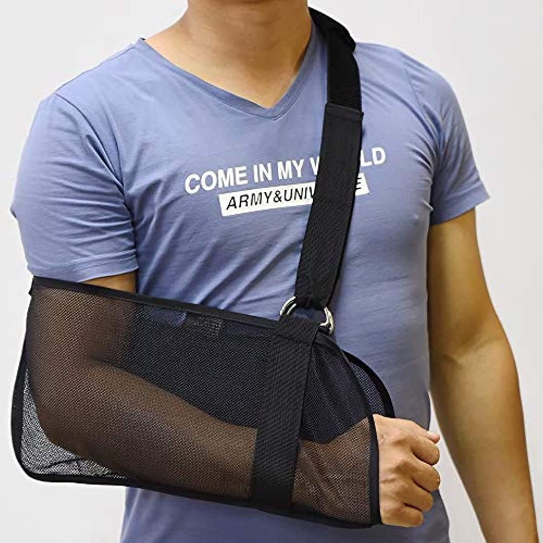 名前で成り立つ旋回ZYL-YL アームスリング肘関節固定装具をハンギング前腕スリング腕の骨折固定ベルトサマーメッシュ通気性 (色 : 黒)