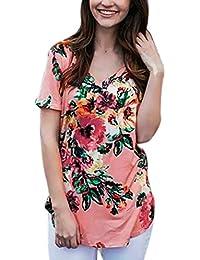 Hosam レディース 洋服 Tシャツ Vネック 花柄 大きなサイズ ゆったり 快適 夏 ファッション 大人 おしゃれ 体型カバ― お呼ばれ 通勤 日常 快適 20代30代40代でも (XL, ピンク)