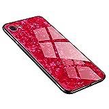 iPhone7 ケース iPhone8ケース 背面ガラス+TPUバンパー ハイブリッド 薄型 四隅滑り止め 耐衝撃 全面保護(赤)