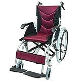 ケアテックジャパン 自走式 アルミ製 車椅子 CA-32SU ハピネスプレミアム (ワインレッド)