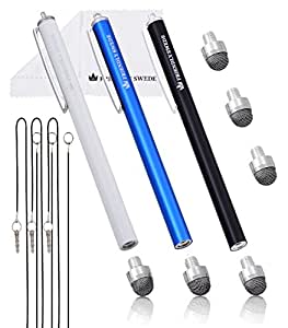 The Friendly Swede タッチペン ペン先交換式 マイクロニットスタイラスペン 3本セット 交換用ペン先3個+携帯用ストラップ2本+マイクロファイバークリーニングクロス付き (ブルー+ブラック+ホワイト)