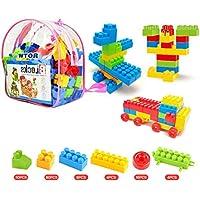 WTOR 積み木 ブロック 知育 おもちゃ 玩具 男の子 女の子 贈り物 誕生日プレゼント 出産祝い 130個バック (バック 1)