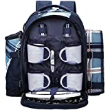 "apollo walker Picnic Backpack Bag for 4 Person with Cooler Compartment, Detachable Bottle/Wine Holder, Fleece Blanket(45""x53""), Coffee Mugs,Plates and Cutlery (Blue)"