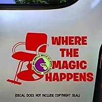 Where the Magic Happensヘアスタイリスト椅子スタイリストドレッサーサロンShearsビニールデカールバンパーステッカーラップトップウィンドウ車壁サインレッド