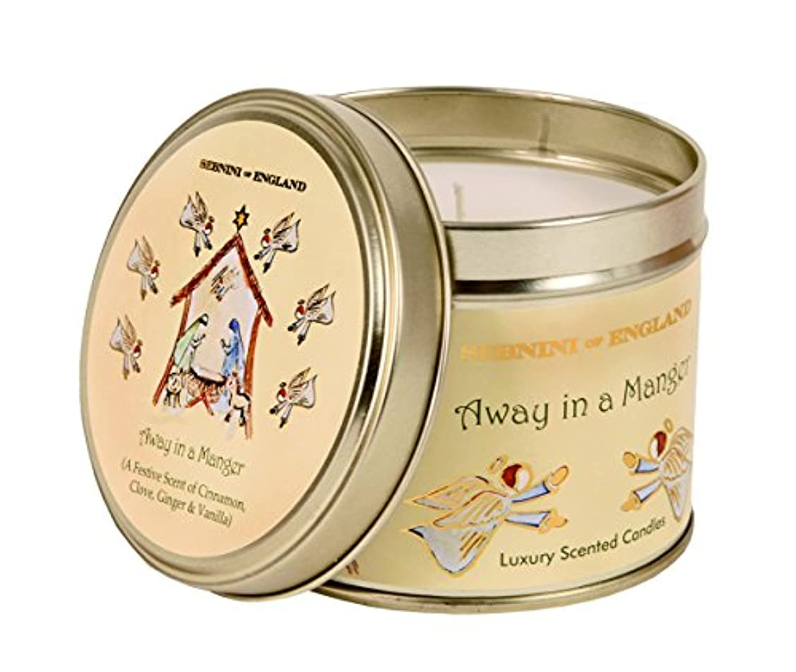 水銀のゴミ箱を空にする手入れSebnini Of England AWAY IN A MANGER Large Scented Candle Tin CINNAMON & VANILLA