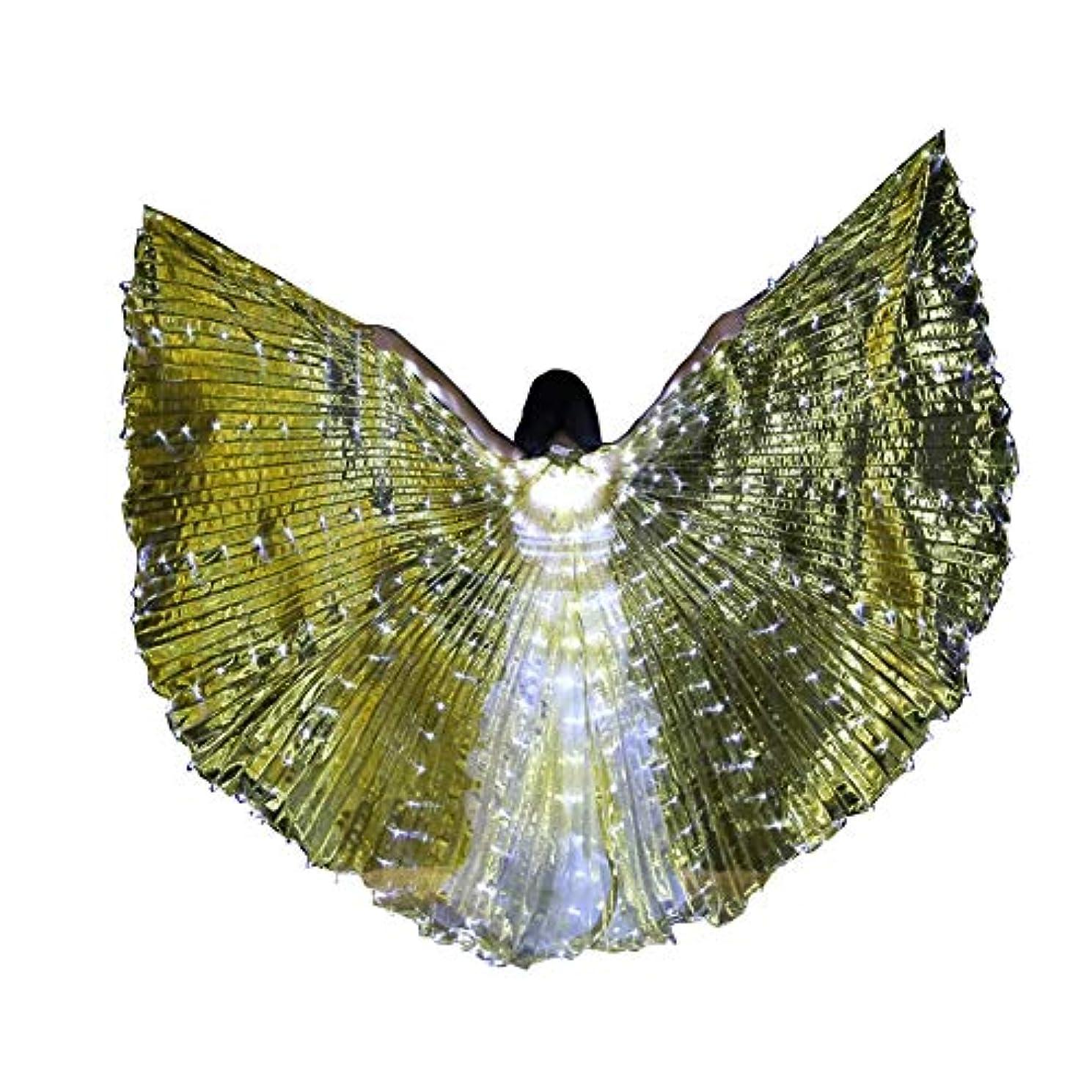 ずらす残り牧草地スティック/ロッドとLEDイシスウイングアダルト玉虫色ベリーダンスパフォーマンスパーティーABellyダンスLEDイシスウイング (Color : Transparent gold)