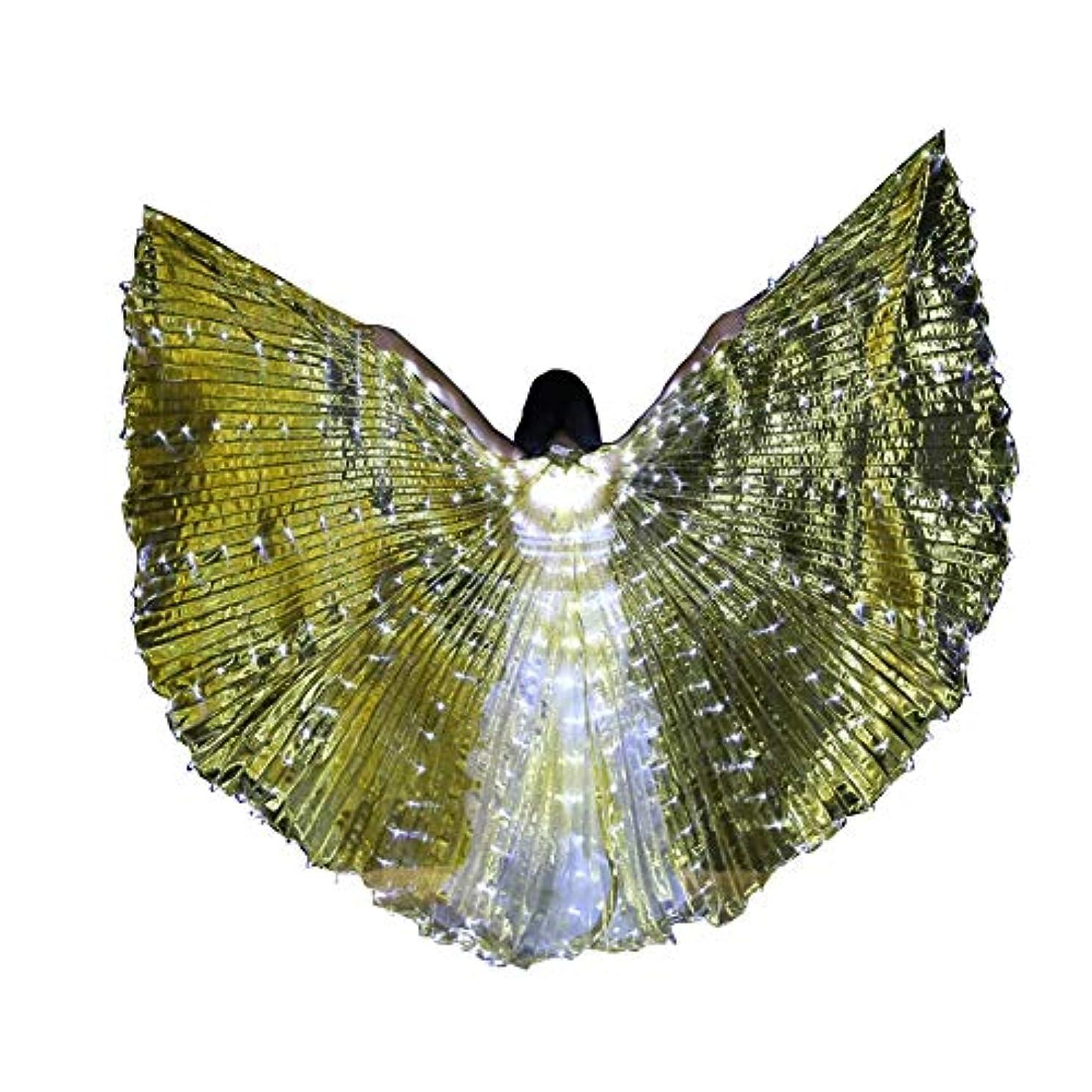 謙虚コテージリズミカルなスティック/ロッドとLEDイシスウイングアダルト玉虫色ベリーダンスパフォーマンスパーティーABellyダンスLEDイシスウイング (Color : Transparent gold)