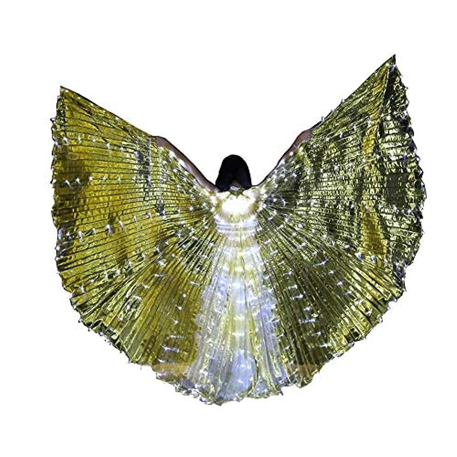 資金暗くするストライプスティック/ロッドとLEDイシスウイングアダルト玉虫色ベリーダンスパフォーマンスパーティーABellyダンスLEDイシスウイング (Color : Transparent gold)