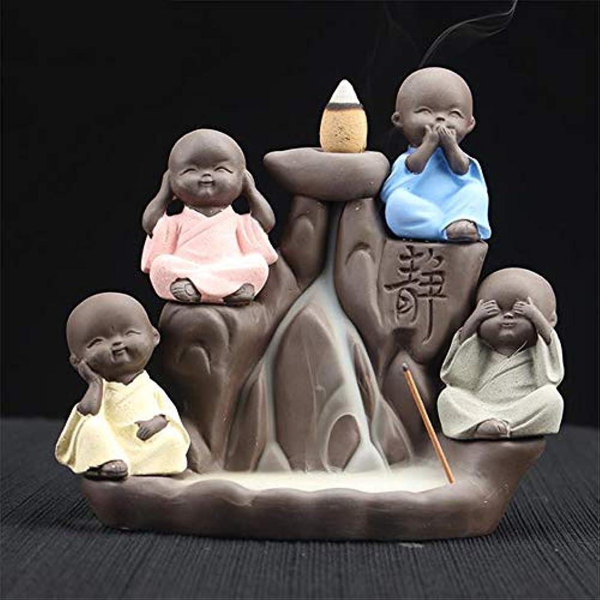 パイント眉奴隷DLXZX Rockery Little Monk Backflow Incense Burner Home Decor Incense Stick Holder Creative Crafts Ornaments