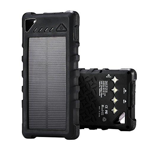 ソーラーチャージャー モバイルバッテリー 大容量 16000mAh IPX7防水 防塵 耐衝撃 2ポート ソーラーパネル付き 二つの充電方法 旅行ハイキング 地震や緊急防災時が必要なもの 多種のスマートフォンandroid iPhone iPad タブレット デジタルカメラ ゲーム機などに対応WT-196(ブラック)