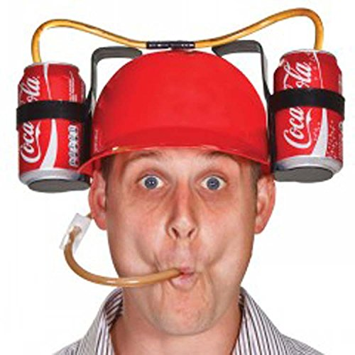 KINGZUO カップホルダー ストロー付き ビール ソーダ ビール飲む帽子 創造なギフト ユニークなハット ビールオーナメント  ビールヘルメット レッド 2缶  パーティー バー ゲームに最適 ビール ソーダ