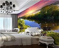 Weaeo 3D壁紙カスタム壁画不織壁ステッカー壁3Dのためのベッドルームの壁紙の設定の嵐のクリークウォーターウォール-400X280Cm