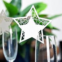 Lovoski 約50枚 結婚式 パーティー クリスマス テーブル ワイン グラス カード メッセージ用カード クリスマス 席札  装飾 スター形