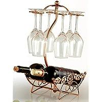 W26 インテリア ワインホルダー ワイングラス ホルダー ラック ワイン シャンパン ボトル スタンド アンティーク調 (ブロンズ)