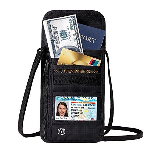 海外旅行用品 iPhone 6/6S/7 Plus収納バッグ セキュリティ スキミング防止 パスポートケース カバー アウトドア ネックポーチ 貴重品入れ 航空券 斜め掛け 便利グッズ トラベルグッズ