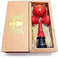 Kerang けん玉 赤 黄 マーブル模様 木のおもちゃ アウトドアスポーツ