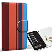 スマコレ ploom TECH プルームテック 専用 レザーケース 手帳型 タバコ ケース カバー 合皮 ケース カバー 収納 プルームケース デザイン 革 チェック・ボーダー ボーダー 模様 赤 004971