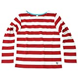 コットン100% イベント用にも大人気 くたびれない素材採用 ボーダー 長袖Tシャツ ストレッチ ウォーリーイベント ハロウィン 赤白 白赤 (120cm, レッド×白)