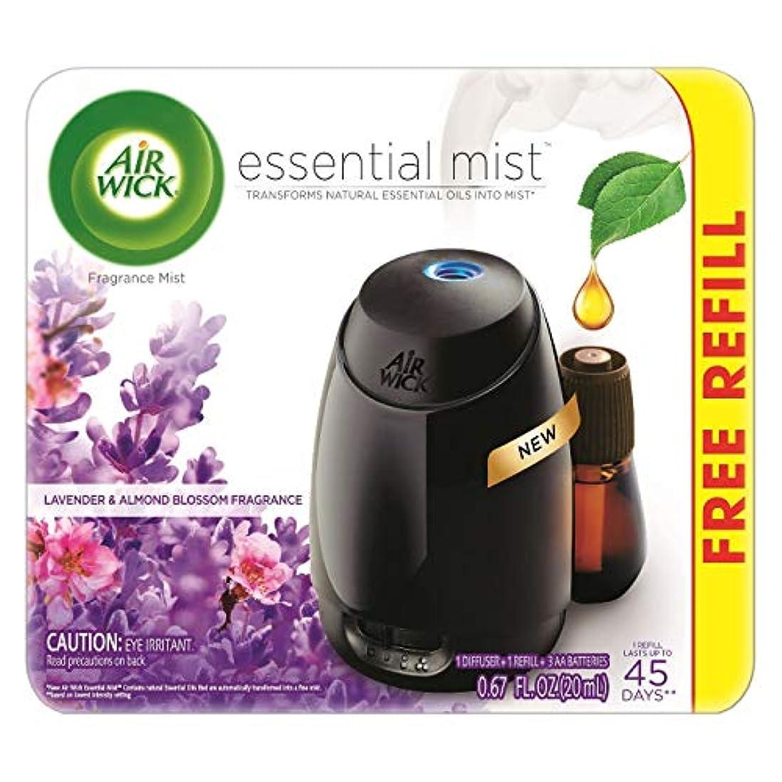 くつろぎ使用法特徴づけるAir Wick Fresh Lavender & Almond Blossom Fragrance Essential エアーウィックフレッシュフレグランスエッセンシャルミスト本体+ ラベンダー&アーモンドブロッサム 芳香剤 20ml 、1パック [並行輸入品]