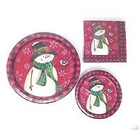 24歳の鳥のクリスマスホリデーパーティーのペーパープレートとナプキンで恋しい雪だるま