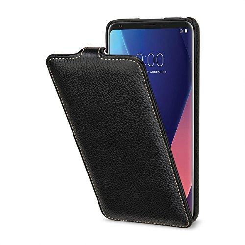 StilGut UltraSlim 本革 カバー LG V30+ 薄型 縦開き マグネット無し レザーケース ブラック