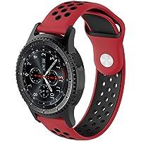XIHAMA for Samsung Galaxy Gear S2 classic huawei watch 2 バンド 交換ベルト シリコーンゴム ストラップ マルチカラー選択 20mm (赤/黒)