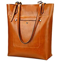YALUXE Womens' Work Totes Genuine Leather Large Capacity Shoulder Bag Purses for Women