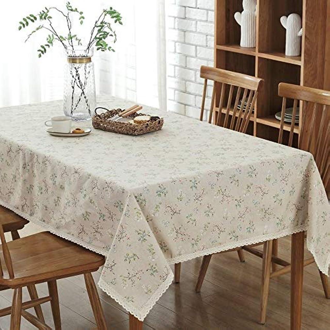 デコレーション評論家モノグラフテーブルクロス 新しい庭の新鮮なスタイルの綿と麻防塵テレビキャビネット布 (Color : Beige, Size : 140*220CM)