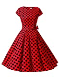 ドレッシースター 1956スイングワンピース レトロ ドレス 50年代 ロカビリー ベルト付き レディーズ レッド ブラック 大柄ドット Mサイズ