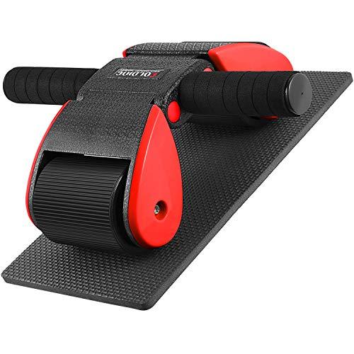 腹筋ローラー Hutbit エクササイズウィル 折り畳み式 スリムトレーナー 超静音 滑り止め 耐磨耗 握りやすい 膝を保護するマット付き (赤/黒)