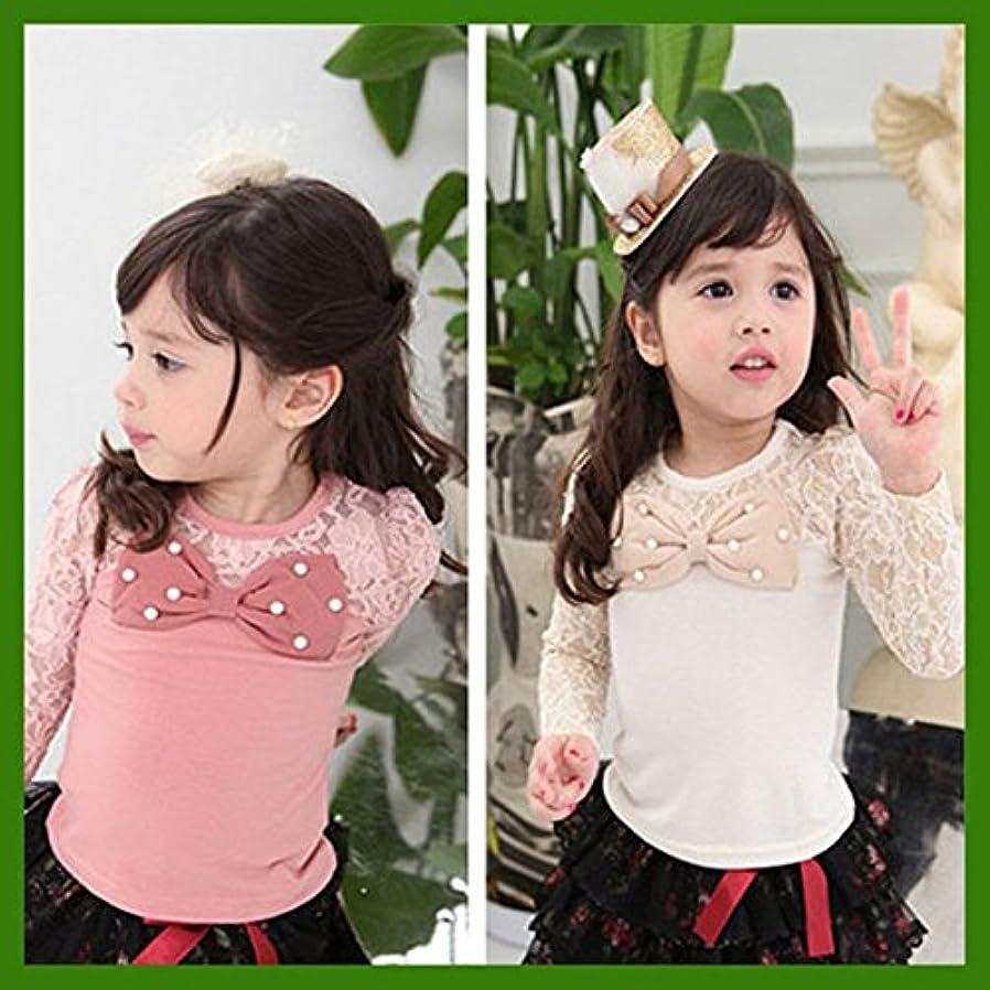 教育者着る一般即納(韓国スタイル子供服) キッズTシャツ女の子Tシャツプリンセススタイルレース大きリボンに真珠付き100cm 110cm 120cm 130cm 140cm