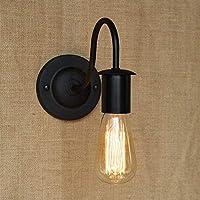 壁面ライト, 黒い鉄の壁の壁取り付け用燭台/ランプの国の居間の廊下のベッドサイドの装飾的な壁ランプ、黒 AI LI WEI (Color : Black)