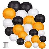 24pcs Round Paper Lanterns for Wedding Birthday Party Halloween Decoration Black/Orange