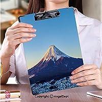 クリップボードメモ型サイズ低プロファイルクリップ 学者スケッチ描画ボード 日本の雪と冬の美しい富士山 (2パック)