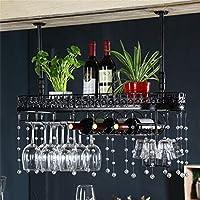 CHRDW ワインラック金属壁掛けワインラックぶら下げカウンターカップホルダーワイングラスゴブレットラック高さ調節可能な30〜60センチ棚用レストラン、バー(クリスタルペンダントを含む) (Color : Black, Size : 100x25cm)