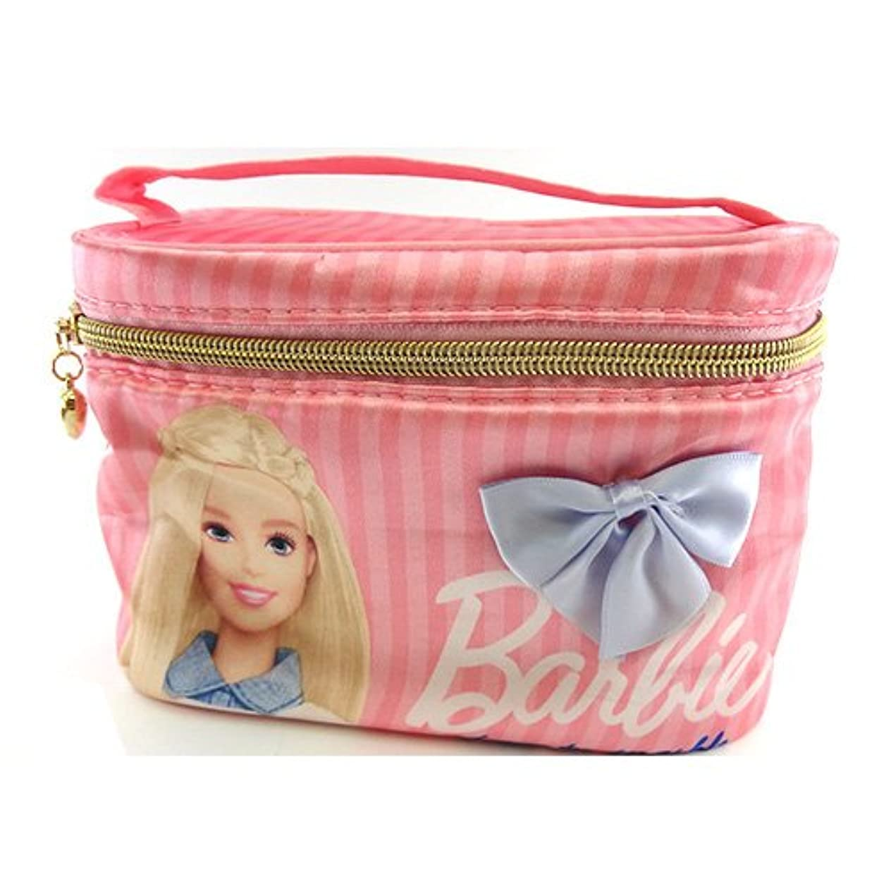 楽しませるもっと少なく多数のバービー Barbie サテン バニティポーチ ライトピンク 11665【Barbie ポーチ メイク ピンク 化粧】