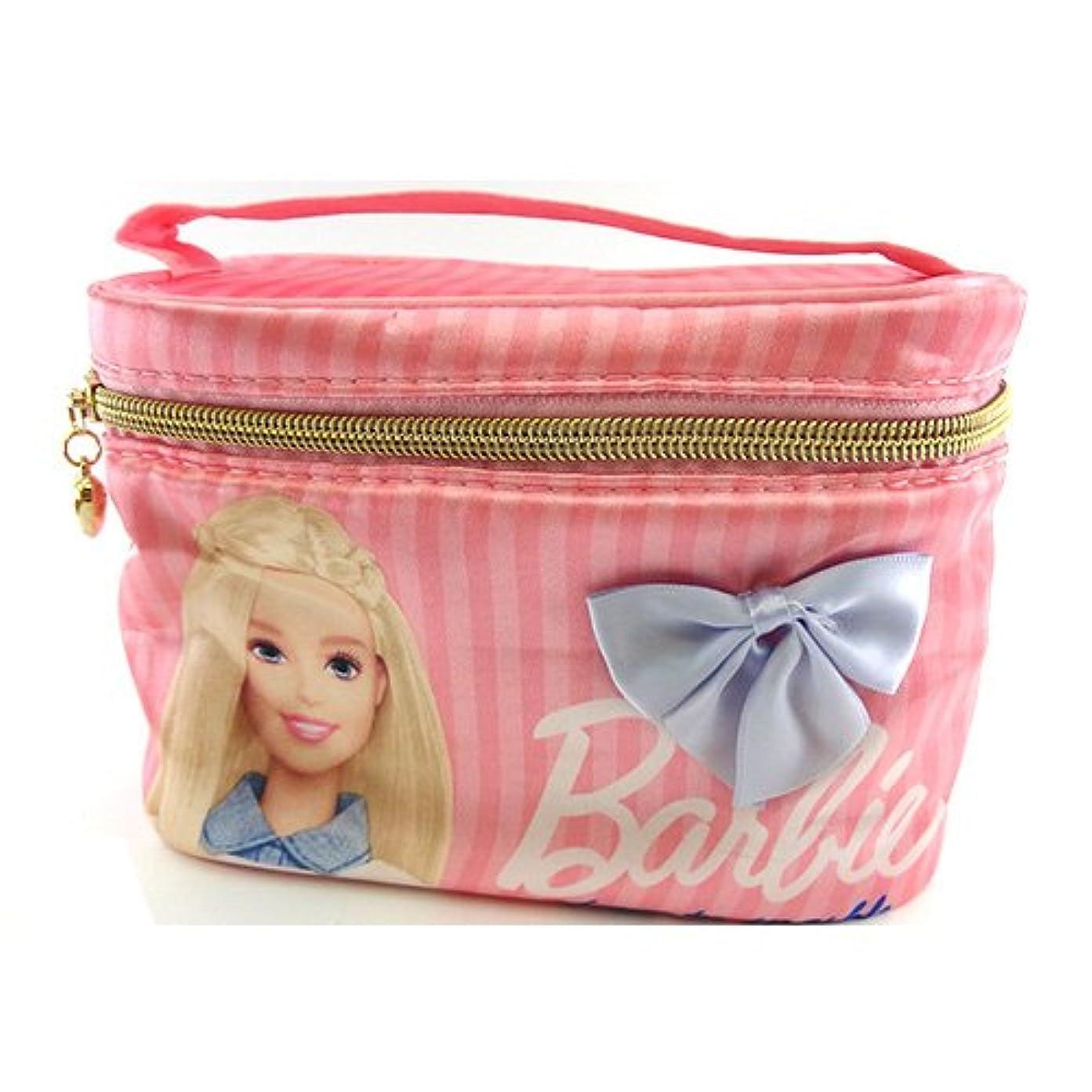 シャイニングベアリングサークル疫病バービー Barbie サテン バニティポーチ ライトピンク 11665【Barbie ポーチ メイク ピンク 化粧】